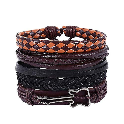Multi Layer Suits - XBKPLO Bracelets Mix 4PC Suit Mens Womens Multi-Layer DIY Rattan Guitar Accessories Jewelry Leather Braided Cuff
