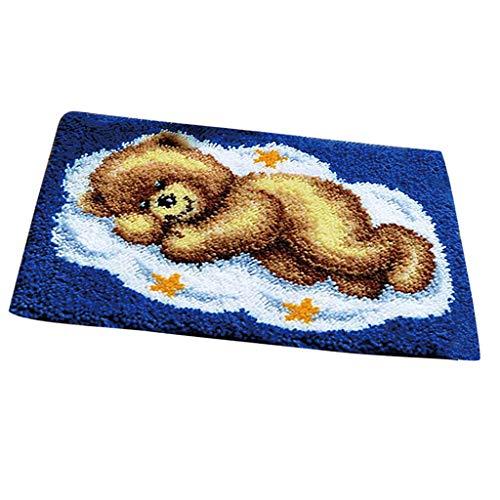 SM SunniMix Bear Latch Hook Rug Kits DIY Pillow Mat Rug Making for Kids Adults Beginners ()