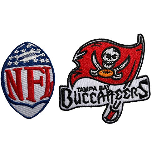 Hipatch Tampa Bay Buccaneers Embroidered Patch Iron on Logo Vest Jacket Cap Hoodie Backpack Patch Iron On/sew on Patch Set of 2Pcs ()
