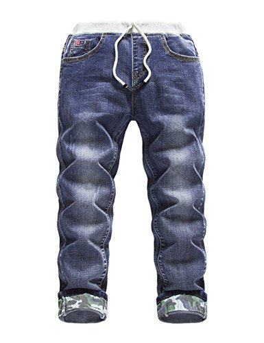 HOLLAGLEE Premium Skinny Boys Jeans Slim Fit Pants for Toddlers Kids and Teens (6, Camouflage DK)