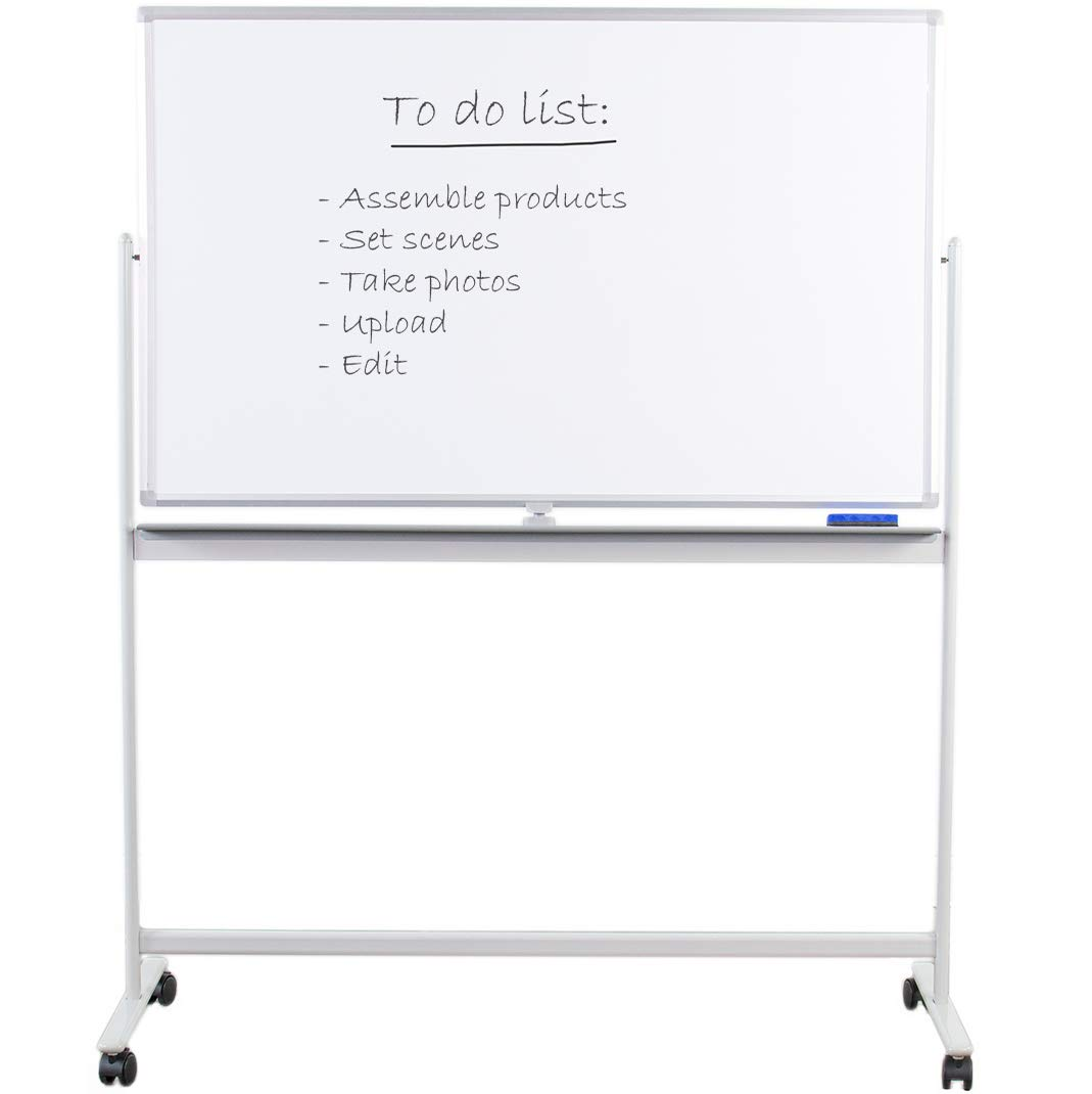VIVO Mobile Dry Erase Board 48'' x 32'' Double Sided Magnetic Whiteboard Aluminum Frame Rolling Stand (CART-WB48A)