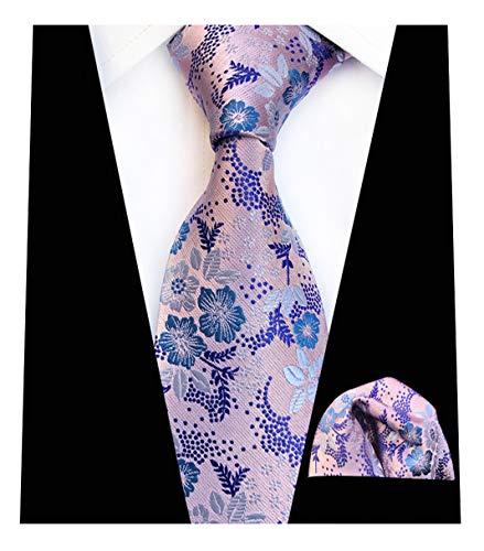 - L04BABY Men's Lavender Floral Pattern Ties Necktie with Pocket Square Tie Sets