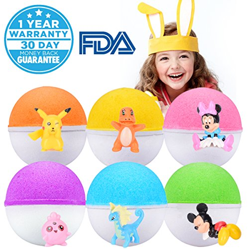Bath Bombs For Kids Surprise Toy Inside 6 Fun Colorful Fizzy Bath Bombs Great Home Kids Bath Bombs Set Gender Neutral Boys & Girls Best Birthday Holiday Gifting Idea for Kids(Ship From US)