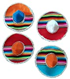 Mexican Mini Serape 6'' Fiesta Party Mariachi Sombrero Hat Assortment (Pack of 4)