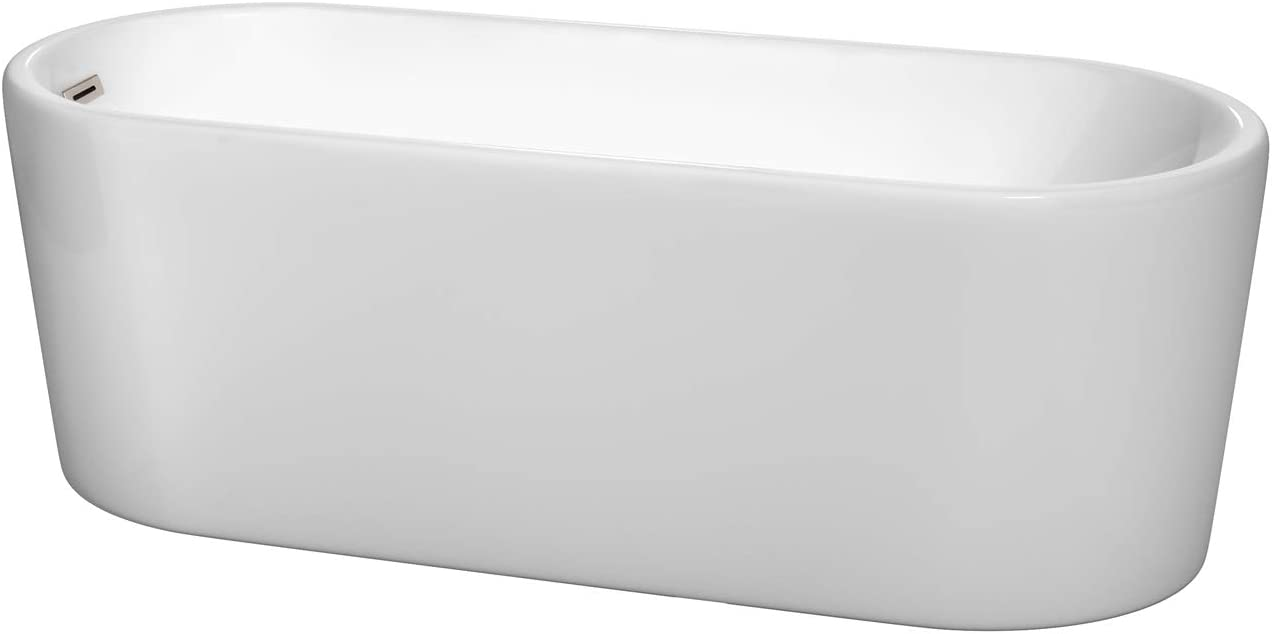 Wyndham Collection Ursula 67 inch Freestanding Bathtub in White with Brushed Nickel Drain and Overflow Trim