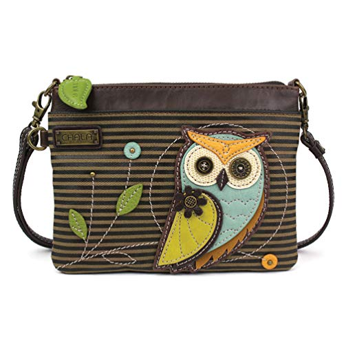 Chala Mini Crossbody/Purse with Convertible Strap Stylish, Compact, Versatile - Owl Olive Stripe (Owl Barn Charm)