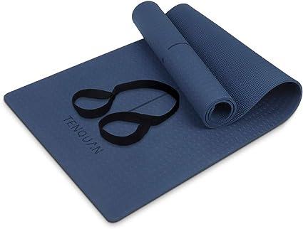 TENQUAN Tapis de Yoga – Yoga Tapis Antiderapant with Sangle pour Yoga,Pilates et Exercices au sol