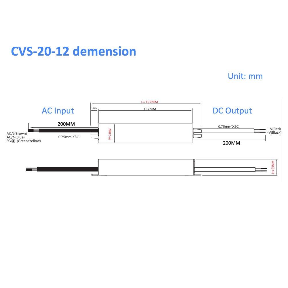 Auforua/® Alimentation LED /Étanche IP67 /Électrique 230V CA// 20W 12VDC 1.67A Transformateur LED pour Ruban LED Stripe et Multi-usage /éclairages Exterieur /…