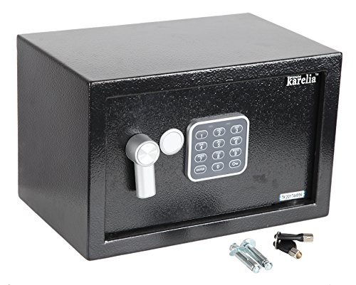 Finnkarelia 0.3 Cubic Digital Security Box Safe Box Security Safe for Jewelry Gun Cash Passport and More Compact Size 12.2x7.8x7.8 inches Black Digital Security Box