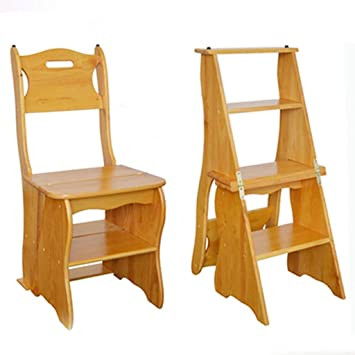 GOG Fácil y cómodo taburete plegable Paso, La escalera de madera estante Escalera de Doble Uso