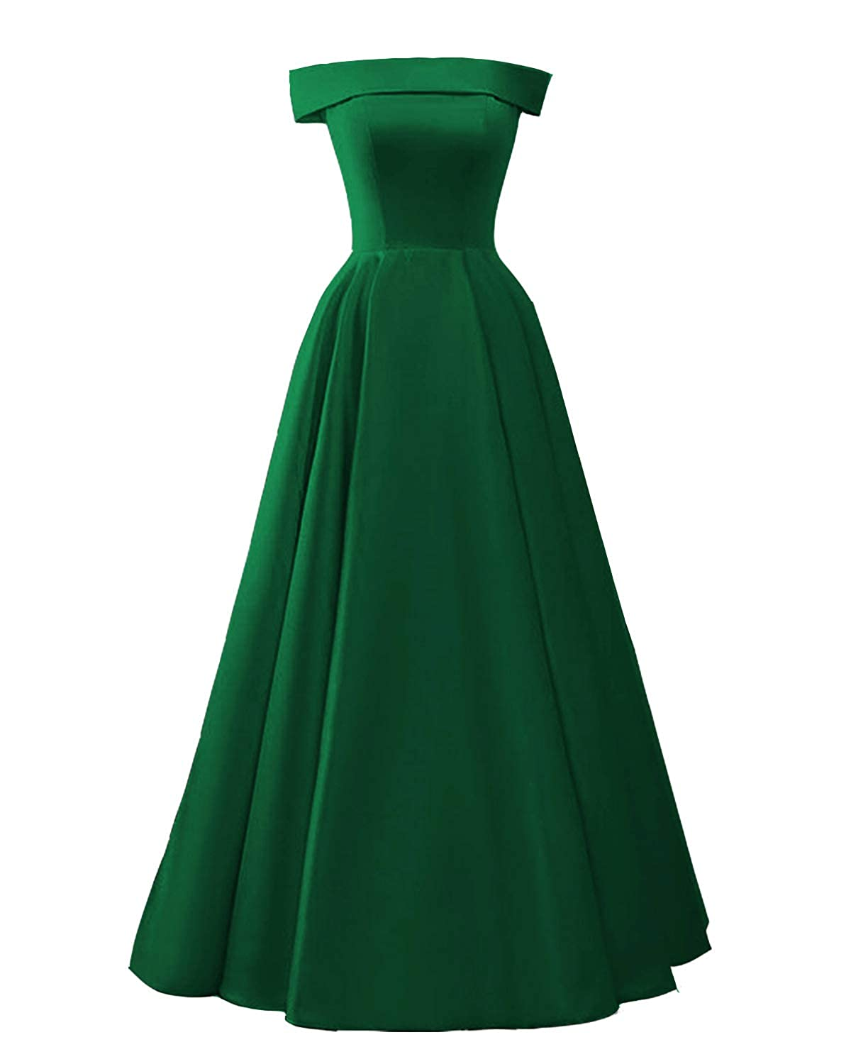 Emerald Green CCBubble Womens Long Satin Prom Dresses Off Shoulder Formal Evening Wedding Party Dress