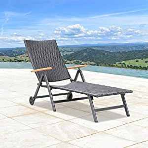 Sorrento outdoor black wicker chaise lounge for Black wicker chaise lounge