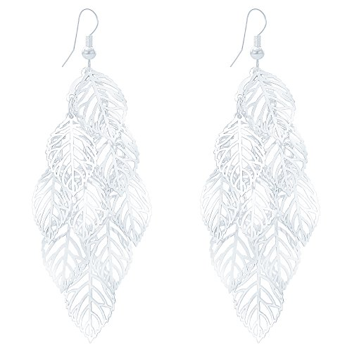 (LY8 Delicate Filigree Hollow Leaf Hook Drop Earrings Silver Tone Dangle Earrings Trendy Jewelry for Prom)