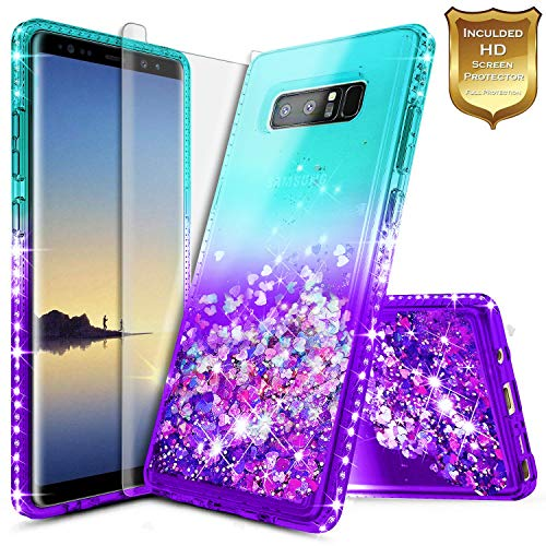 Galaxy Note 8 Glitter Case, NageBee Liquid Quicksand Waterfall Flowing Sparkle Shiny Bling Diamond Girls Cute Case w/[Full Cover Screen Protector Premium Clear] for Samsung Galaxy Note 8 -Aqua/Purple