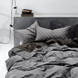 Grey Duvet Cover Set King, 100% Soft Cotton Bedding, Chevron Herringbone Geometric Modern Pattern Printed on Gray, with Zipper Closure (3pcs, King Size)