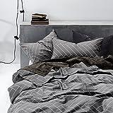 Gray Duvet Cover Set, 100% Cotton Bedding, Chevron Herringbone Geometric Modern Pattern Printed on Grey (3pcs, Queen Size)