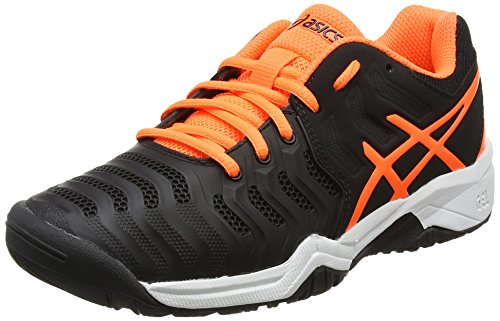 Asics Gel-Resolution 7 Gs, Zapatillas de Tenis Unisex Niños Negro (Black / Shocking Orange / White)