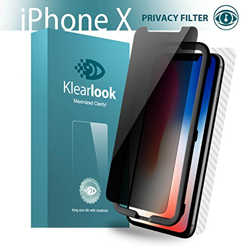 Klearlook Glass Privacy Defender Compatible with iPhone Xs,X Screen Protector Anti Spy Tempered Glass Screen Protector Case Friendly [Easy Align Tool] Front Glass Back Film Sticker