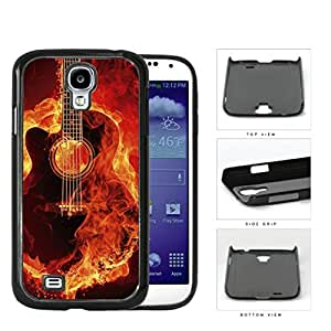 Acoustic Guitar Burning With Fire Flames Hard Plastic Snap On Cell Phone Case Samsung Galaxy S4 SIV I9500