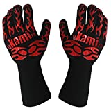 Yokamira BBQ Grill Oven Gloves, 932 °F/500°C Heat Resistant, Premium Insulated and Silicone Lined Aramid Fiber Gloves for Cooking, Baking, Smoking, Fireplace - 14