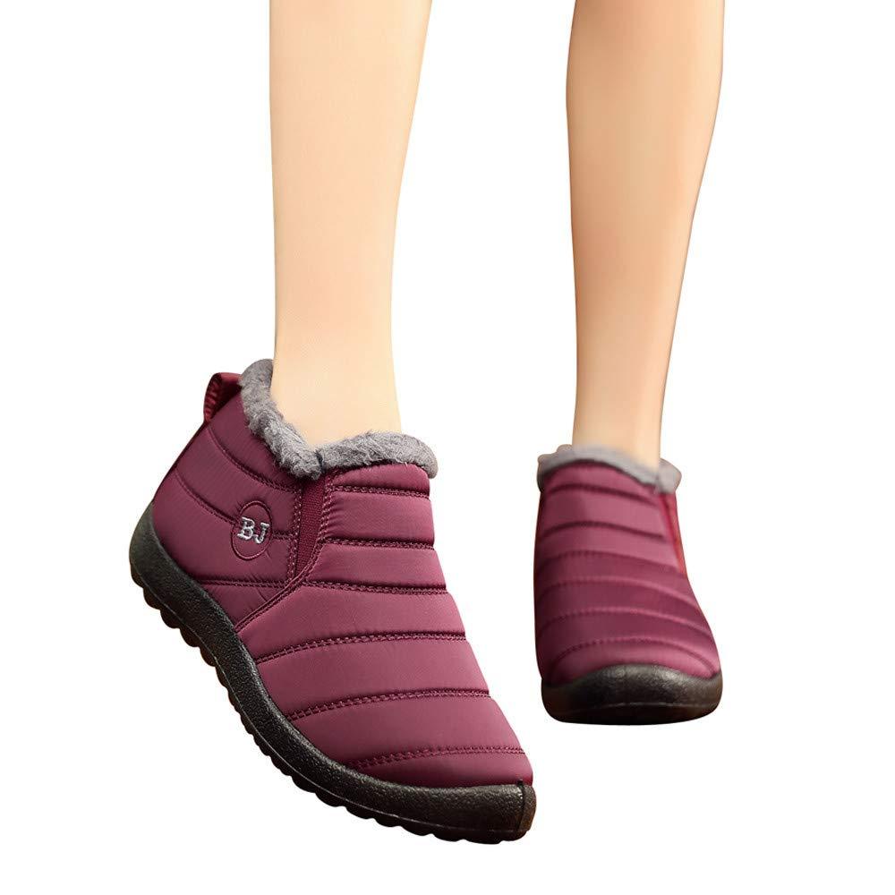 Aritone - Women Shoes Winter Snow Boots Waterproof Anti-Slip Flat Ankle Boots Faux Fur Lined Lightweight Sneaker Booties women boots