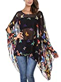 DJT Women's Floral Printed Chiffon Caftan Poncho Tunic Top One Size Black