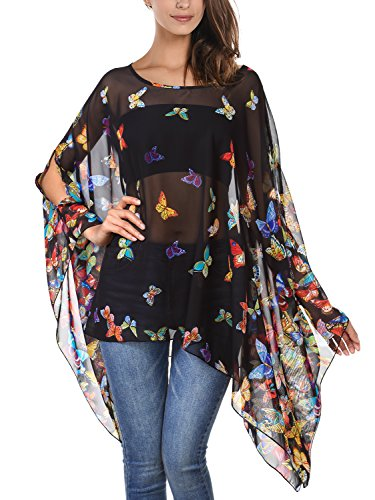(DJT Women's Floral Printed Chiffon Caftan Poncho Tunic Top One Size Black)