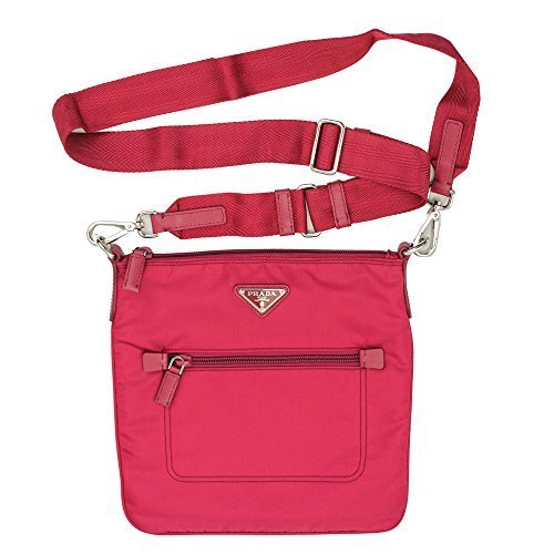 Prada Women's Pink Nylon Cross Body Bag Bt0716 Ibnisco (Bag Nylon Prada)