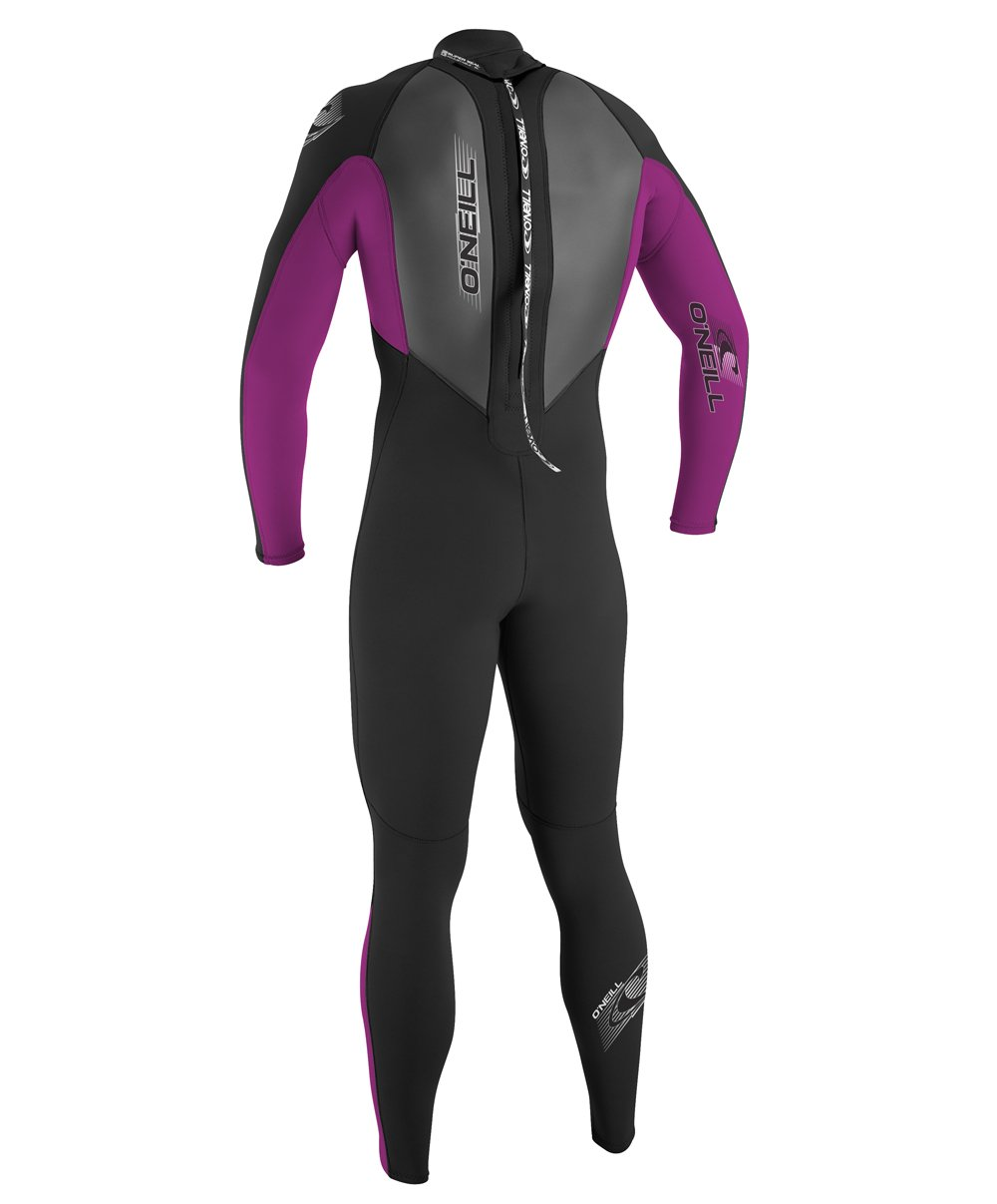 O'Neill Youth Reactor 3/2mm Back Zip Full Wetsuit, Black/Pink/Graphite, 8 by O'Neill Wetsuits (Image #3)
