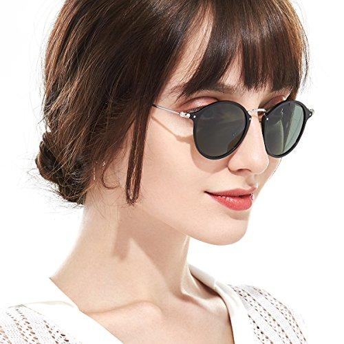 73144072f0d Vintage Round Sunglasses for Women Polarized with Classic Retro Circle Lens  ultralight Frame-100%