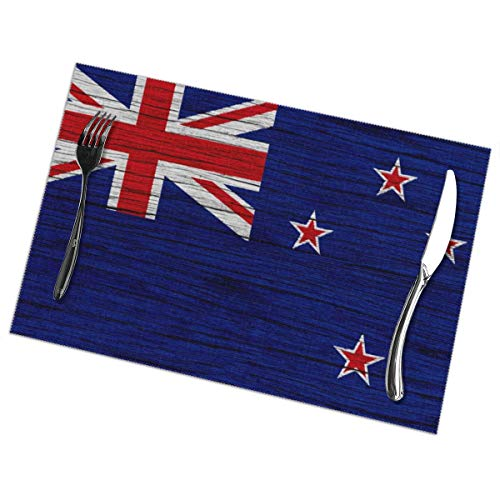 Nice Music Flag of New Zealand Wooden Texture 6 Piece Set of Placemats Pc Party Kitchen Dining Room Home Table Place Mat Patio Holidays Decorations Decor Ornament Themed Print Pattern Kid Girls]()