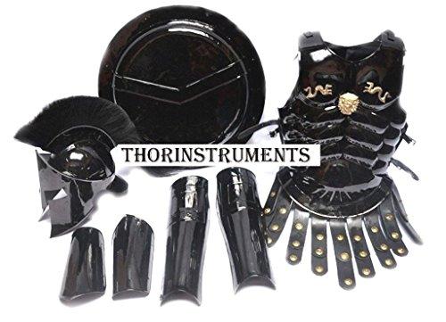 [MEDIEVAL KING SPARTAN 300 MOVIE HELMET+MUSCLE JACKET BEST BLACK COSTUME] (Spartan Princess Costumes)