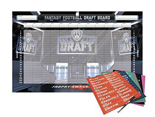 TrophySmack 2019 Fantasy Football Draft Board Kit (12, 10 and 8 Team) Custom Design - 500+ Player and Smack Talk Labels