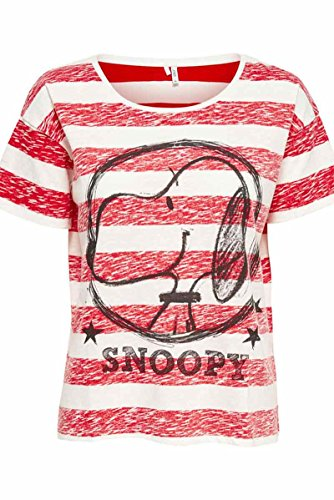 Only 15132205, Camisa Para Mujer Rojo/Blanco (Cloud Dancer Print:Snoopy Circle)