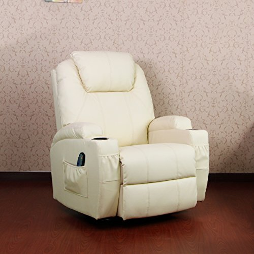 Leather Ergonomic Recliner - Unionline Heated Massage Recliner Chair 360 Degree Swive PU Leather Ergonomic Lounge (Cream chair)