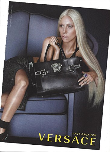 **PRINT AD** With Lady Gaga For 2014 Versace Black Handbags **PRINT - Gaga For Versace