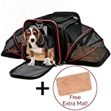Pet Carrier Cat Dog Pet Travel Expandable Tote Soft Fur Pet Mat Airline Approved Carrier Bag with Top & Side Zippered Entries & Ventilated Mesh Spacious & Comfy Carrier Tote for Pets (pet carrier) For Sale