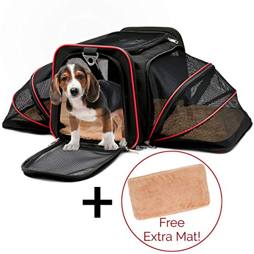 Pet Carrier Cat Dog Pet Travel Expandable Tote Soft Fur Pet Mat Airline Approved Carrier Bag with Top & Side Zippered Entries & Ventilated Mesh Spacious & Comfy Carrier Tote ()