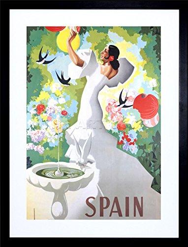 9x7 '' Spain Flamenco Dance Bird Bath Framed Art Print Picture Photo F97X1322