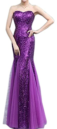 Eyekepper Bridesmaid Strapless Mermaid Sequins Ruching Tulle Wedding Dress