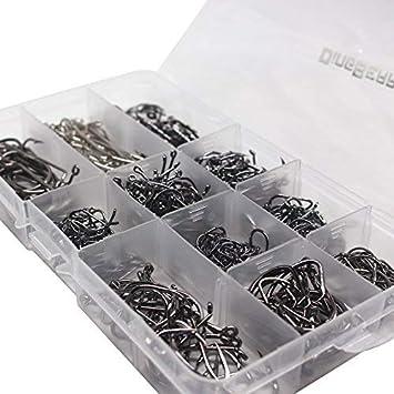 500 St/ücke # 3 ~ # 12 10 Gr/ö/ßen Salzwasser S/ü/ßwasser Schwarz Angelhaken Kommt mit Einzelhandel tragen Box Angelger/ät eingestellt THKFISH Angelhaken
