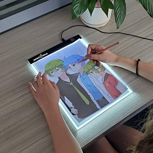 amiciVision LED Lighted Tracing Board A4 Size Drawing Board with Brightness Controlled Touch Button (1, A4)