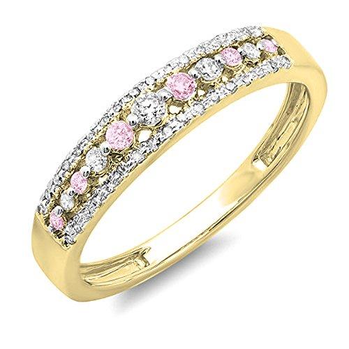 10K Yellow Gold Round Pink Sapphire & White Diamond Ladies Anniversary Wedding Band Ring (Size 7) (Diamond Band Pink Wedding)