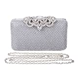 2017 Fashion Crystal Bag Clutch Purse Luxury Rhinestone Evening Bag Jewelry Handbag (Silver)