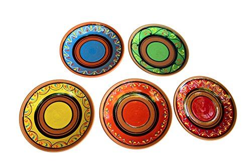 Terracotta Salad Plates Set of 5 - Hand Painted From Spain by Cactus Canyon Ceramics