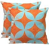 UBU Republic Handmade Retro Outdoor Throw Pillows - SET OF 2 - Orange & Blue Retro Star Pattern Boho Patio Pillows - Starpod (16X16)