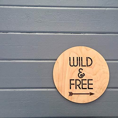 MarthaFox Wild Free Wall Sign 11W x 11H Hangable Art for Nursery Decor Bedroom Kids Room Teen Room Laser Cut Wood Sign Relax Chill