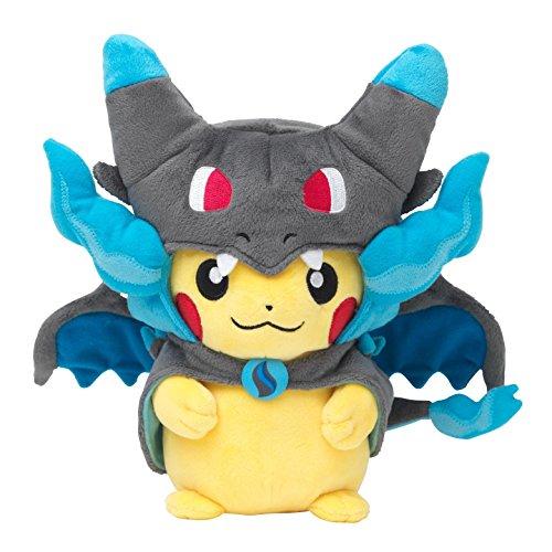 Pokemon Center original plush Pikachu dressed in ponchos megaCharizard X megalizardon X