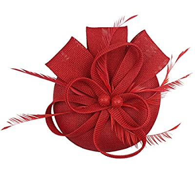 HOLDOOR Fascinator Feather Fascinators for Women Pillbox Hat for Wedding Party Derby Royal Banquet