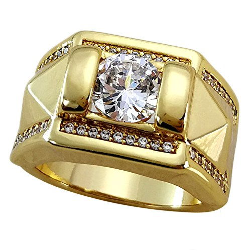 Ahappy-Claw Setting Zircon Hip hop Ring Mens Wedding Engagement Ring Band R245